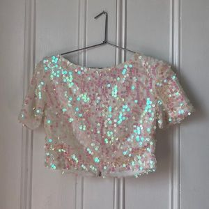 Reflective Pink sequin white crop top!